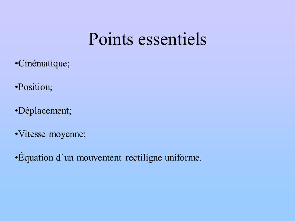 Points essentiels Cinématique; Position; Déplacement; Vitesse moyenne; Équation dun mouvement rectiligne uniforme.