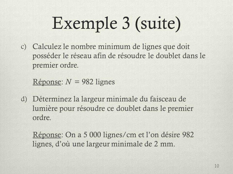 Exemple 3 (suite) c) Calculez le nombre minimum de lignes que doit posséder le réseau afin de résoudre le doublet dans le premier ordre. Réponse: N =