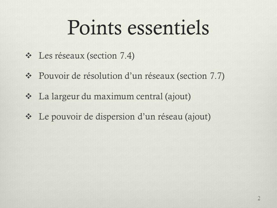 Points essentiels Les réseaux (section 7.4) Pouvoir de résolution dun réseaux (section 7.7) La largeur du maximum central (ajout) Le pouvoir de dispersion dun réseau (ajout) 2