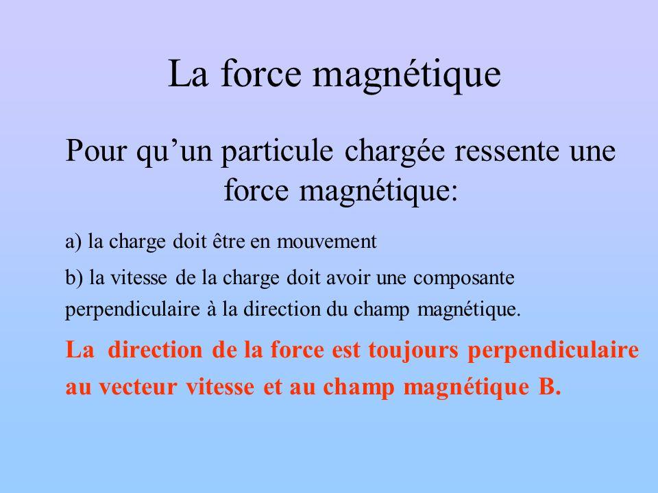 Pour quun particule chargée ressente une force magnétique: a) la charge doit être en mouvement b) la vitesse de la charge doit avoir une composante pe
