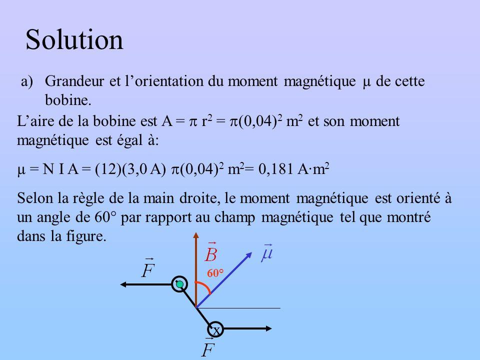 Solution a)Grandeur et lorientation du moment magnétique µ de cette bobine. Laire de la bobine est A = r 2 = (0,04) 2 m 2 et son moment magnétique est