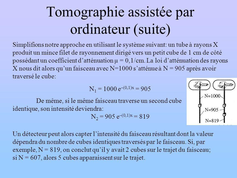 Tomographie assistée par ordinateur (suite) Simplifions notre approche en utilisant le système suivant: un tube à rayons X produit un mince filet de r