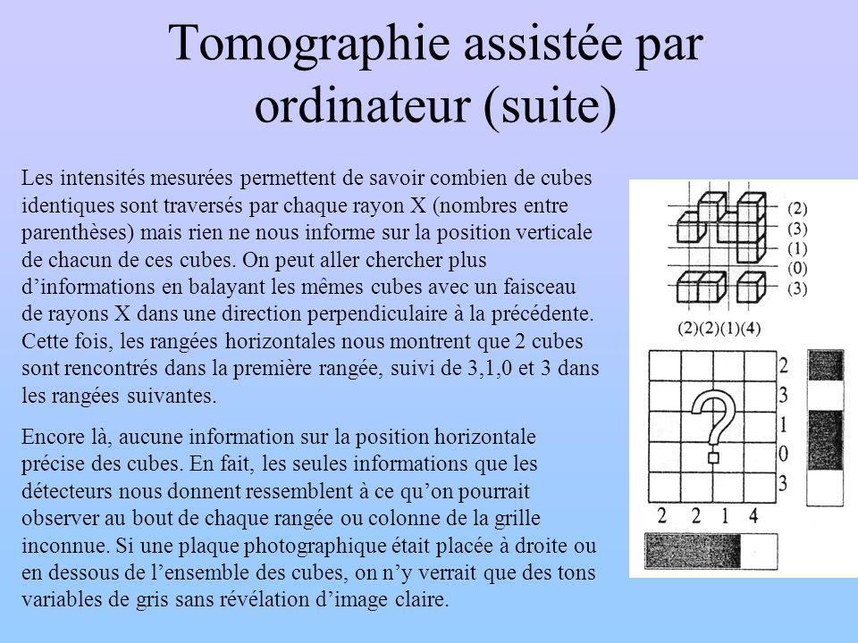 Tomographie assistée par ordinateur (suite) Les intensités mesurées permettent de savoir combien de cubes identiques sont traversés par chaque rayon X