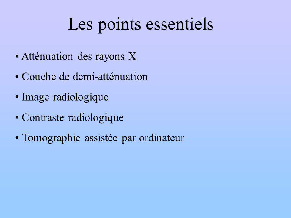 Les points essentiels Atténuation des rayons X Couche de demi-atténuation Image radiologique Contraste radiologique Tomographie assistée par ordinateu