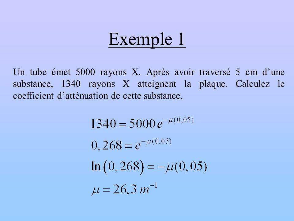 Exemple 1 Un tube émet 5000 rayons X. Après avoir traversé 5 cm dune substance, 1340 rayons X atteignent la plaque. Calculez le coefficient datténuati