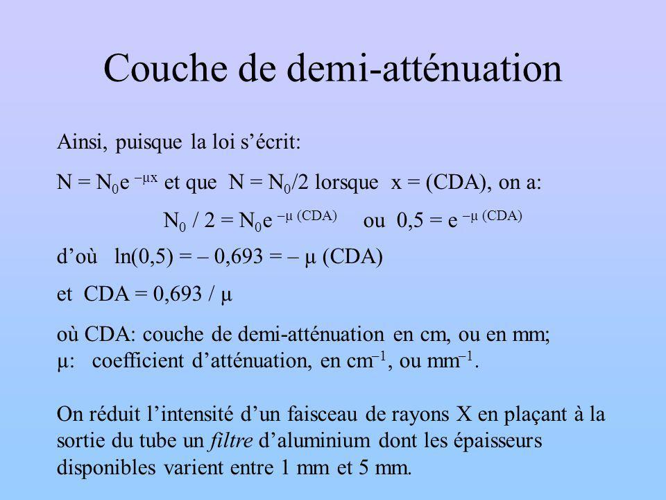 Couche de demi-atténuation Ainsi, puisque la loi sécrit: N = N 0 e –µx et que N = N 0 /2 lorsque x = (CDA), on a: N 0 / 2 = N 0 e –µ (CDA) ou 0,5= e –