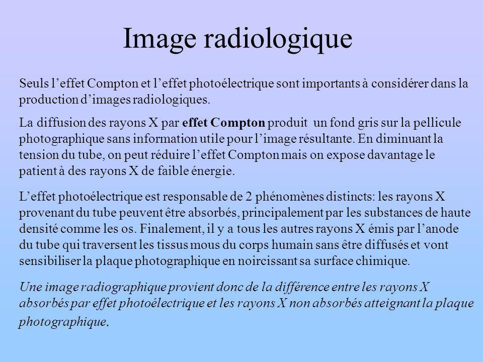 Image radiologique Seuls leffet Compton et leffet photoélectrique sont importants à considérer dans la production dimages radiologiques. La diffusion