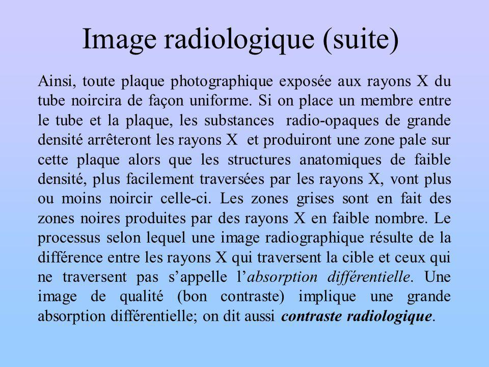 Image radiologique (suite) Ainsi, toute plaque photographique exposée aux rayons X du tube noircira de façon uniforme. Si on place un membre entre le