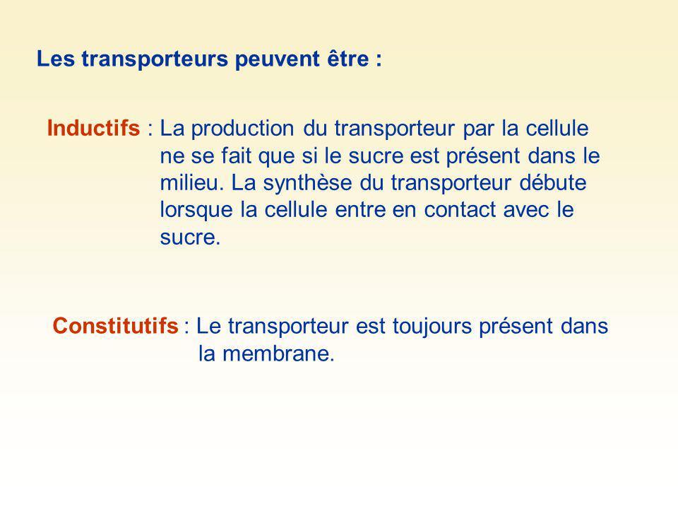 Les transporteurs peuvent être : Inductifs : La production du transporteur par la cellule ne se fait que si le sucre est présent dans le milieu. La sy
