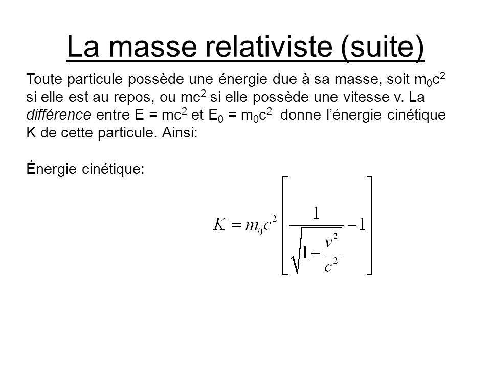 La masse relativiste (suite) Toute particule possède une énergie due à sa masse, soit m 0 c 2 si elle est au repos, ou mc 2 si elle possède une vitess