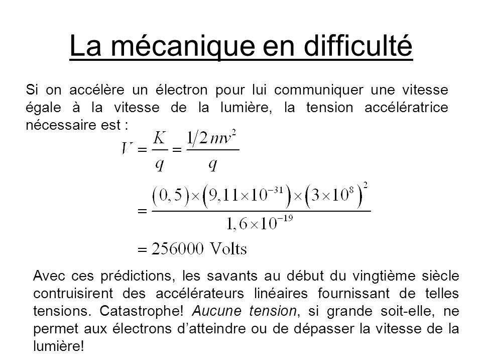 La mécanique en difficulté Si on accélère un électron pour lui communiquer une vitesse égale à la vitesse de la lumière, la tension accélératrice néce