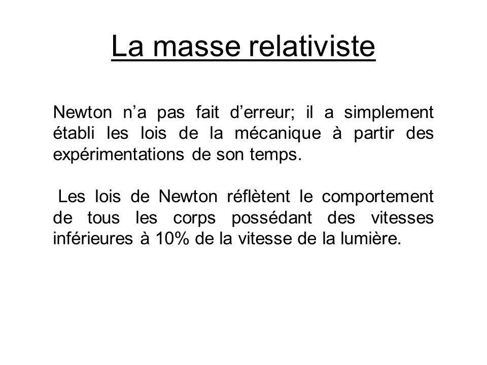 La masse relativiste Newton na pas fait derreur; il a simplement établi les lois de la mécanique à partir des expérimentations de son temps. Les lois