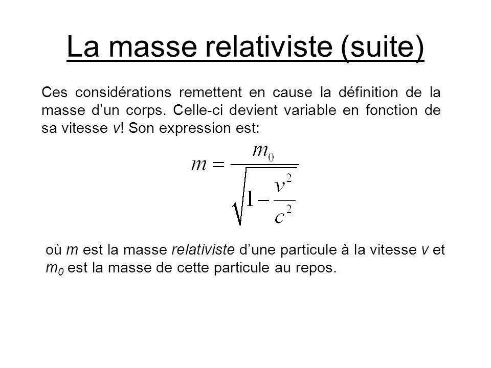 La masse relativiste (suite) Ces considérations remettent en cause la définition de la masse dun corps. Celle-ci devient variable en fonction de sa vi