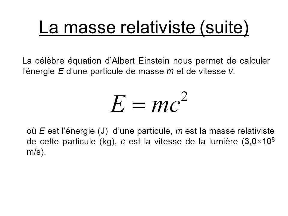 La masse relativiste (suite) La célèbre équation dAlbert Einstein nous permet de calculer lénergie E dune particule de masse m et de vitesse v. où E e