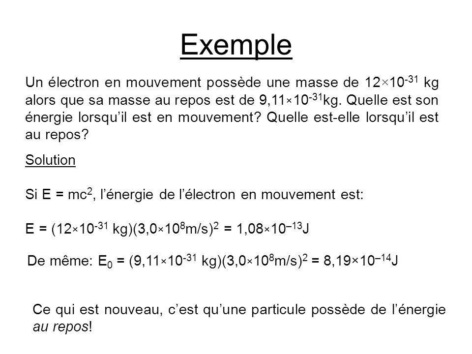 Exemple Un électron en mouvement possède une masse de 12 × 10 -31 kg alors que sa masse au repos est de 9,11 × 10 -31 kg. Quelle est son énergie lorsq