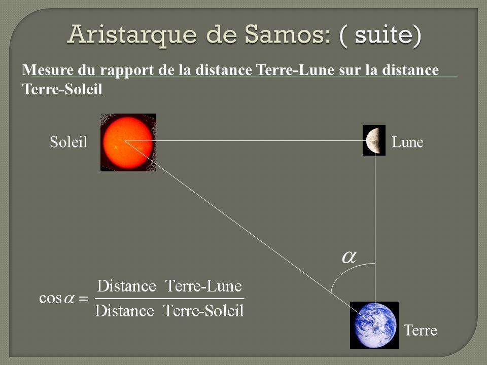 Mesure du rapport de la distance Terre-Lune sur la distance Terre-Soleil SoleilLune Terre