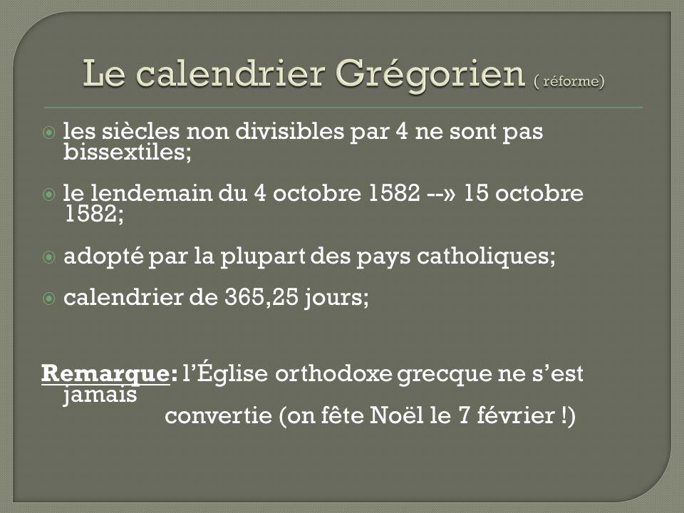 les siècles non divisibles par 4 ne sont pas bissextiles; le lendemain du 4 octobre 1582 --» 15 octobre 1582; adopté par la plupart des pays catholiques; calendrier de 365,25 jours; Remarque: lÉglise orthodoxe grecque ne sest jamais convertie (on fête Noël le 7 février !)