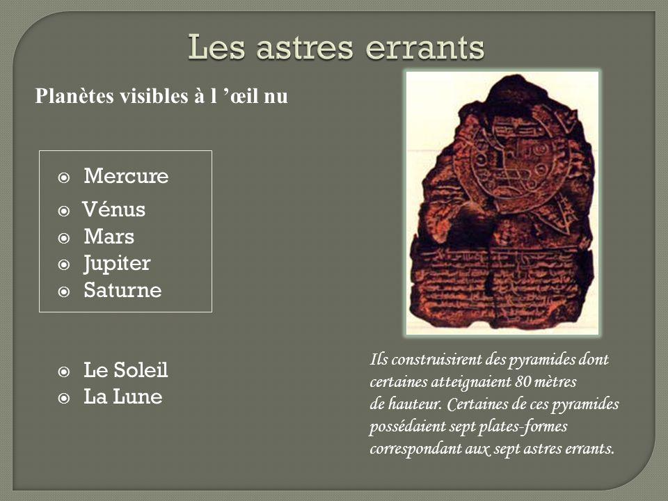 Mercure Vénus Mars Jupiter Saturne Le Soleil La Lune Ils construisirent des pyramides dont certaines atteignaient 80 mètres de hauteur.