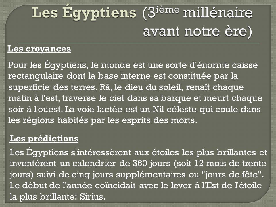 Les croyances Pour les Égyptiens, le monde est une sorte d'énorme caisse rectangulaire dont la base interne est constituée par la superficie des terre