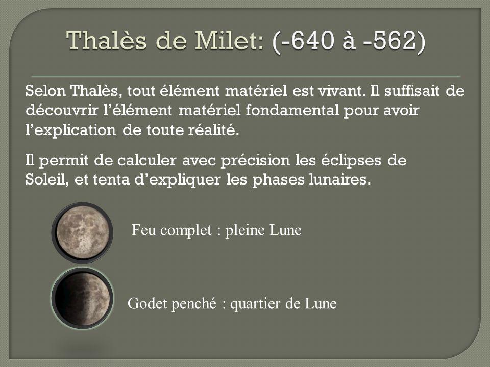 Selon Thalès, tout élément matériel est vivant. Il suffisait de découvrir lélément matériel fondamental pour avoir lexplication de toute réalité. Il p