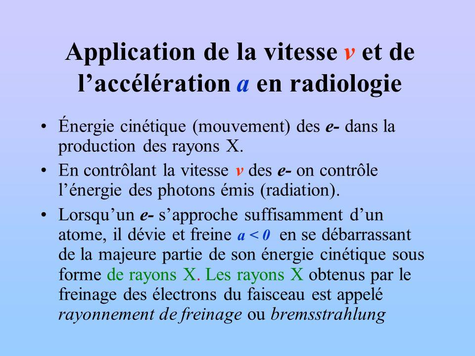 Application de la vitesse v et de laccélération a en radiologie Énergie cinétique (mouvement) des e- dans la production des rayons X. En contrôlant la