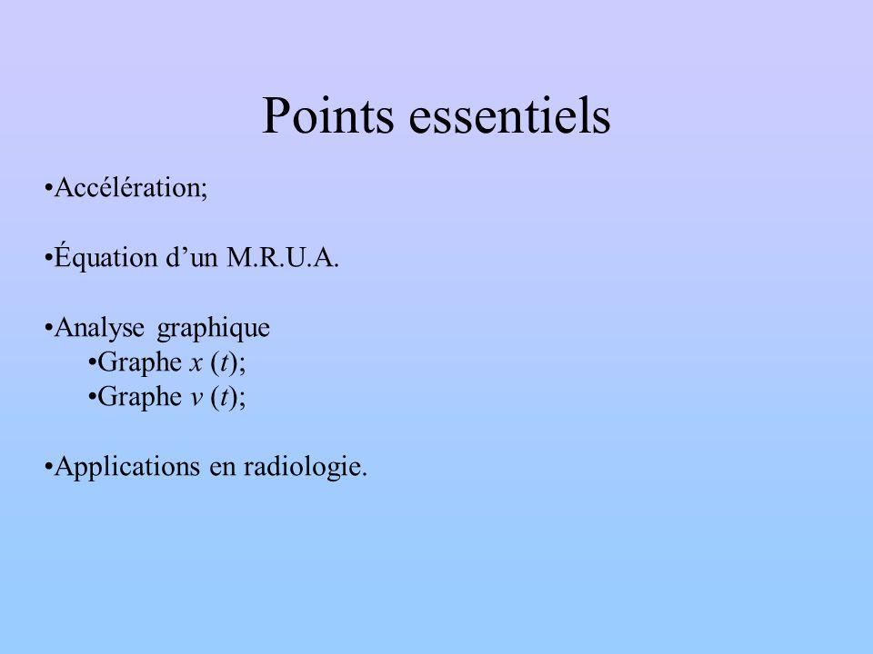 Points essentiels Accélération; Équation dun M.R.U.A. Analyse graphique Graphe x (t); Graphe v (t); Applications en radiologie.