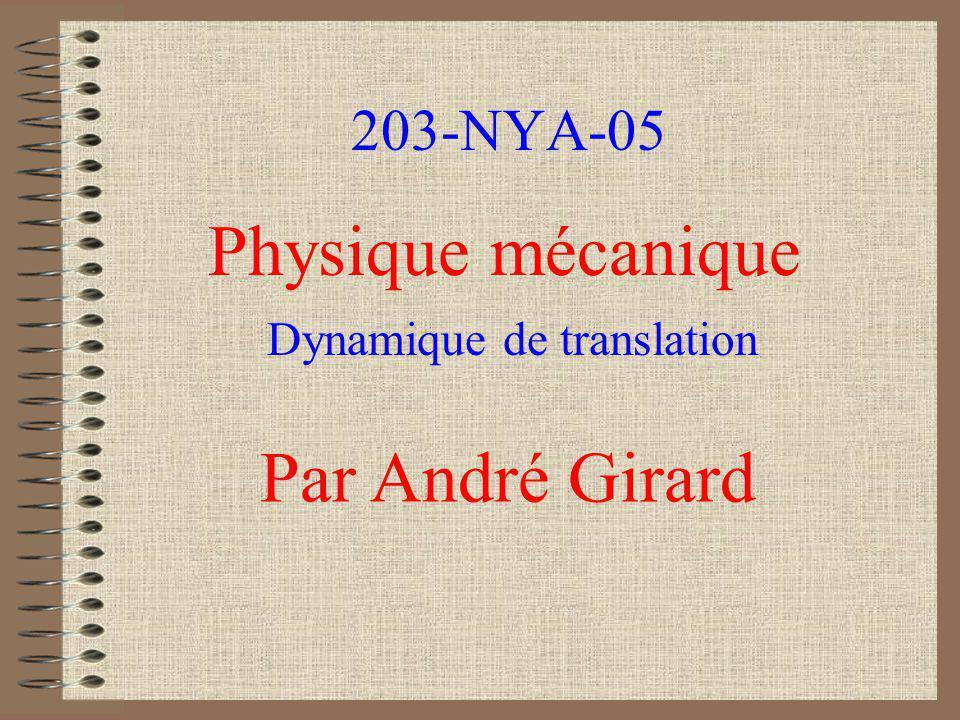 203-NYA-05 Physique mécanique Par André Girard Dynamique de translation