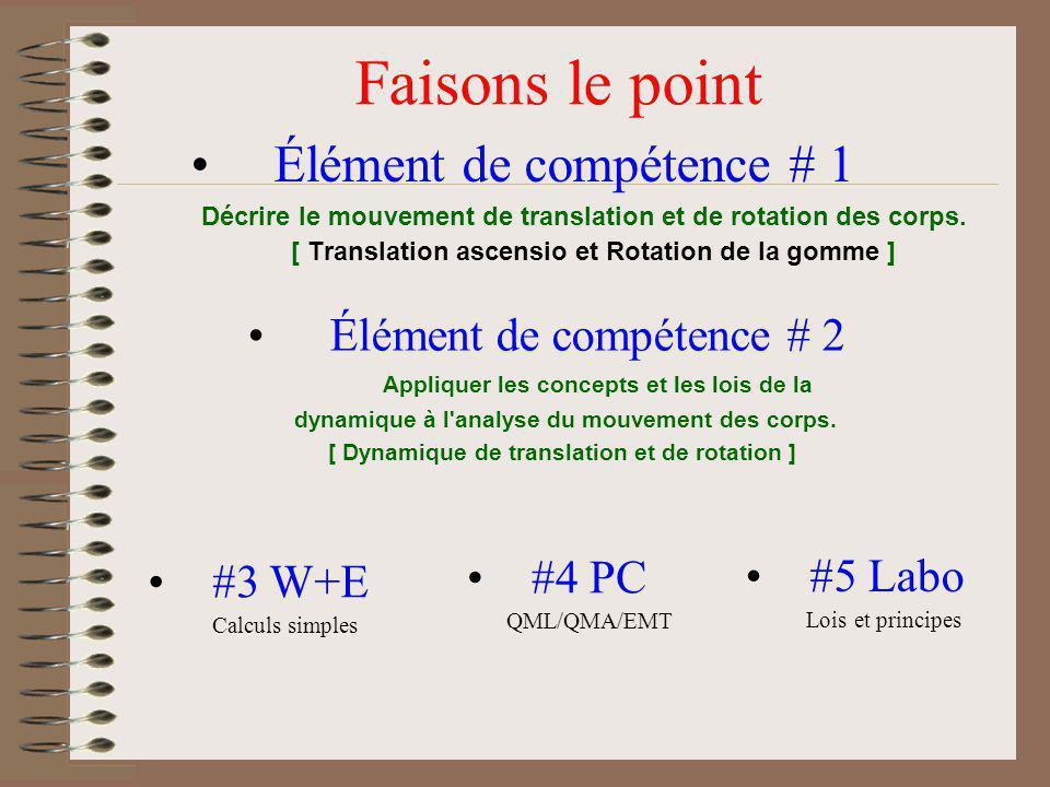 Élément de compétence # 1 Décrire le mouvement de translation et de rotation des corps. [ Translation ascensio et Rotation de la gomme ] Faisons le po