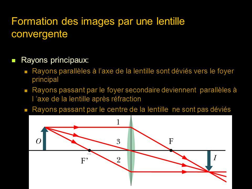 Formation des images par une lentille convergente Rayons principaux: Rayons parallèles à laxe de la lentille sont déviés vers le foyer principal Rayon