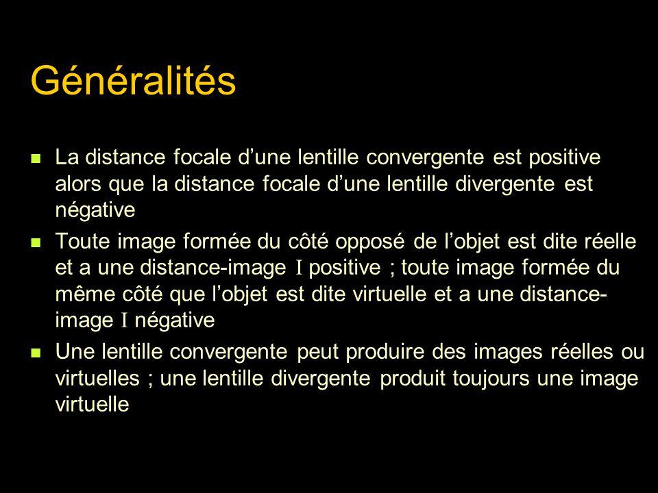 Généralités La distance focale dune lentille convergente est positive alors que la distance focale dune lentille divergente est négative Toute image f