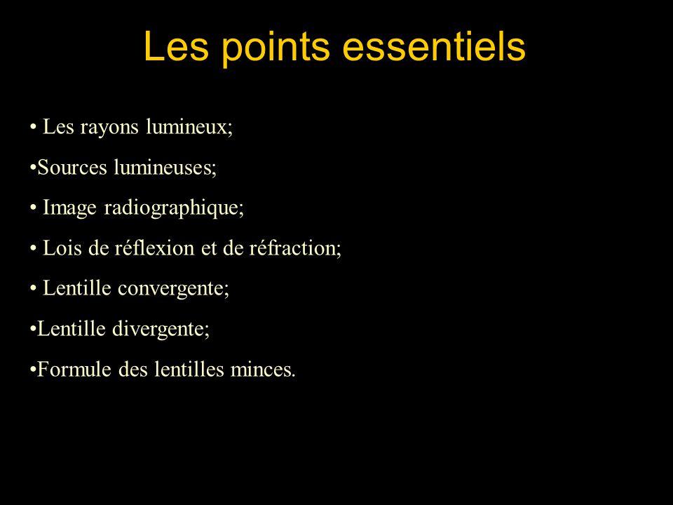 Les points essentiels Les rayons lumineux; Sources lumineuses; Image radiographique; Lois de réflexion et de réfraction; Lentille convergente; Lentill
