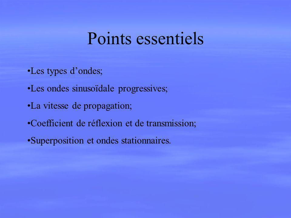 Points essentiels Les types dondes; Les ondes sinusoïdale progressives; La vitesse de propagation; Coefficient de réflexion et de transmission; Superp