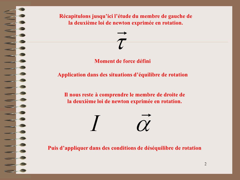 3 Inertie de Rotation ou moment dInertie Tendance dun corps de sopposer à la rotation autour dun axe choisi Une petite fusée de masse (m) est fixée solidement sur une tige rigide de masse négligeable à une distance (R) du centre de rotation.