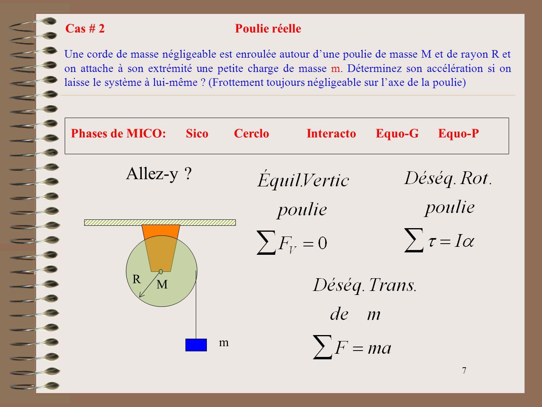 8 Mg T R M m T mg a Relation entre linéaire et angulaire Donc T=Ma/2 Finalement Équil.