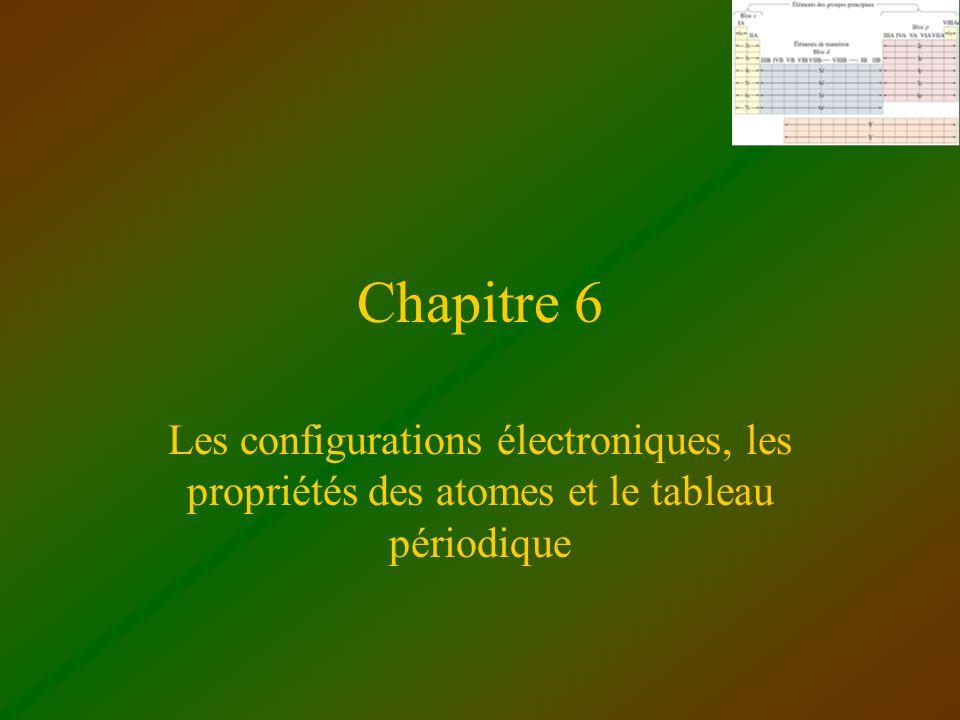 Chapitre 6 Les configurations électroniques, les propriétés des atomes et le tableau périodique