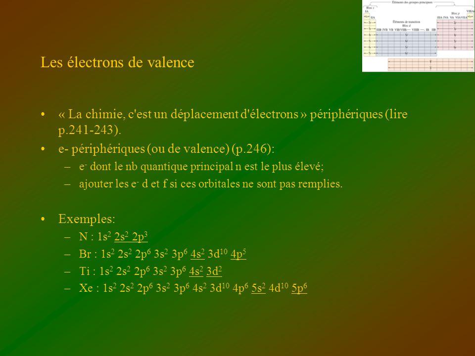 Les électrons de valence « La chimie, c'est un déplacement d'électrons » périphériques (lire p.241-243). e- périphériques (ou de valence) (p.246): –e