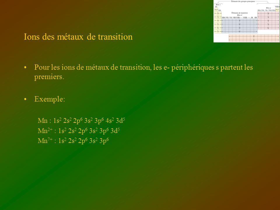 Ions des métaux de transition Pour les ions de métaux de transition, les e- périphériques s partent les premiers. Exemple: Mn : 1s 2 2s 2 2p 6 3s 2 3p