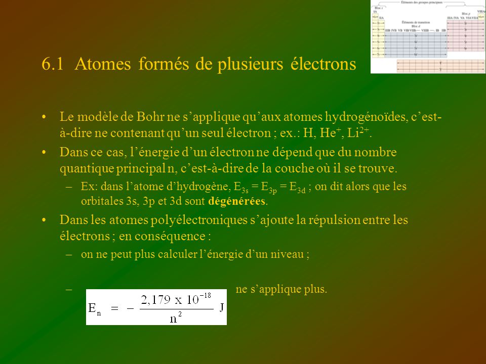 6.1 Atomes formés de plusieurs électrons Le modèle de Bohr ne sapplique quaux atomes hydrogénoïdes, cest- à-dire ne contenant quun seul électron ; ex.