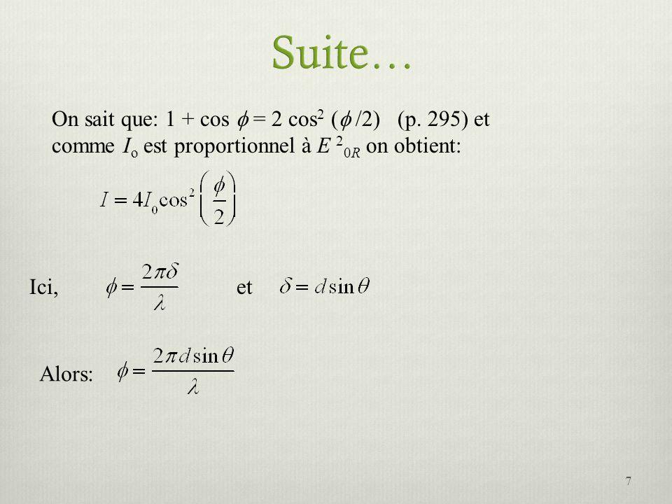 On sait que: 1 + cos = 2 cos 2 ( /2) (p. 295) et comme I o est proportionnel à E 2 0R on obtient: Ici,et Alors: 7