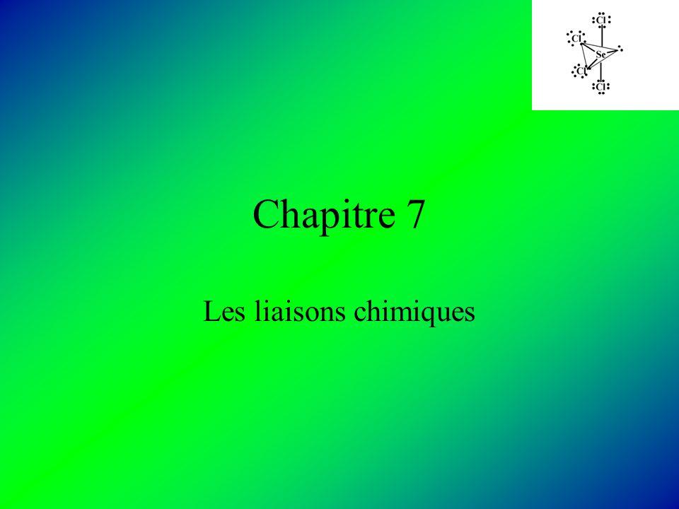 Chapitre 7 Les liaisons chimiques
