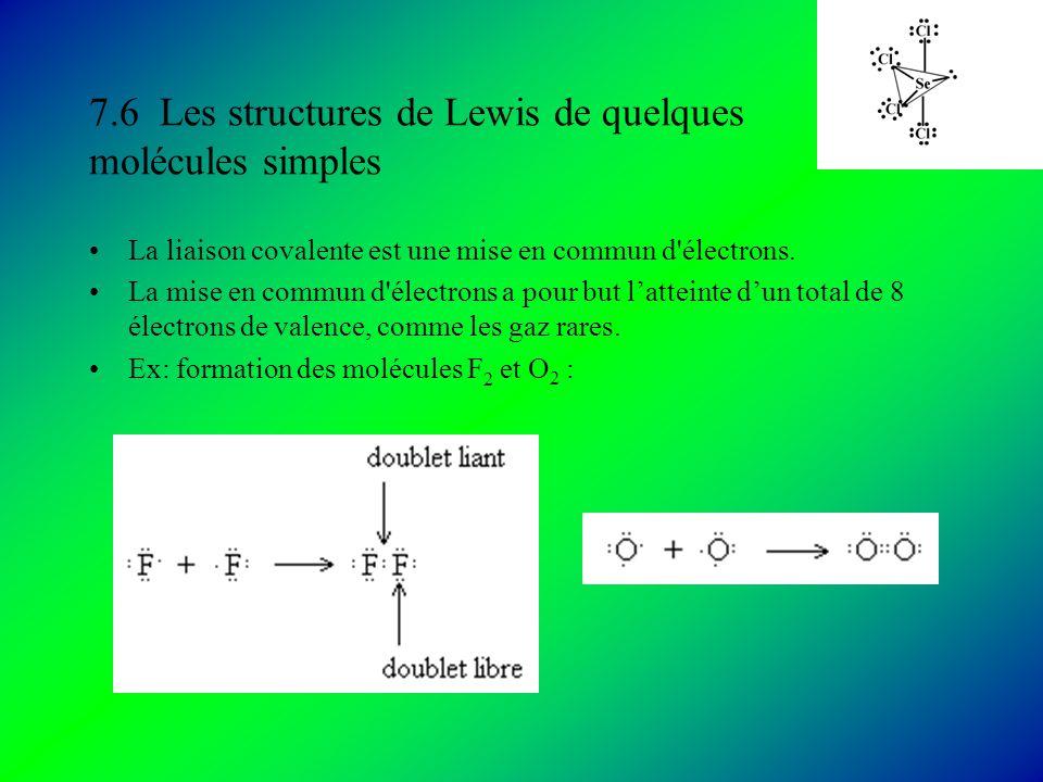 7.6 Les structures de Lewis de quelques molécules simples La liaison covalente est une mise en commun d électrons.