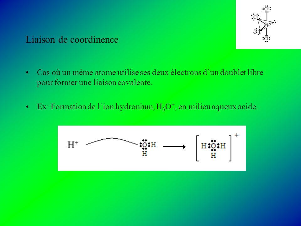 Liaison de coordinence Cas où un même atome utilise ses deux électrons dun doublet libre pour former une liaison covalente.
