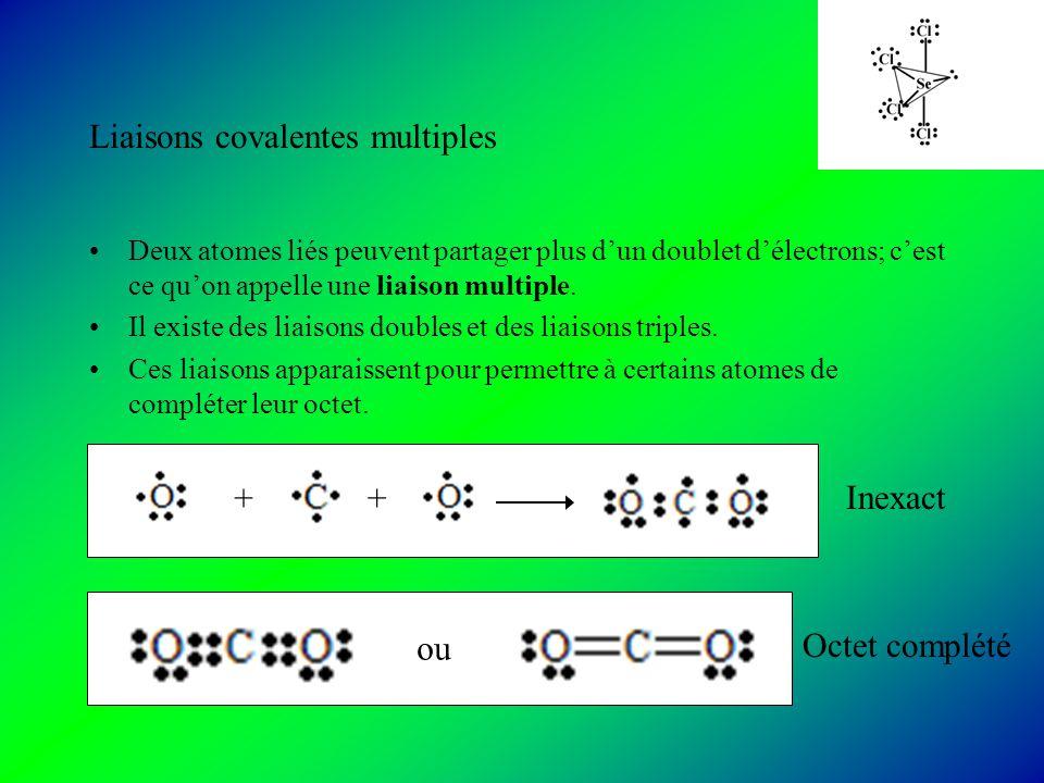 Liaisons covalentes multiples Deux atomes liés peuvent partager plus dun doublet délectrons; cest ce quon appelle une liaison multiple.
