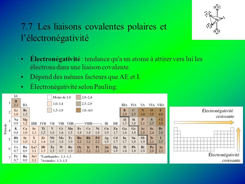 7.7 Les liaisons covalentes polaires et lélectronégativité Électronégativité : tendance qu a un atome à attirer vers lui les électrons dans une liaison covalente.