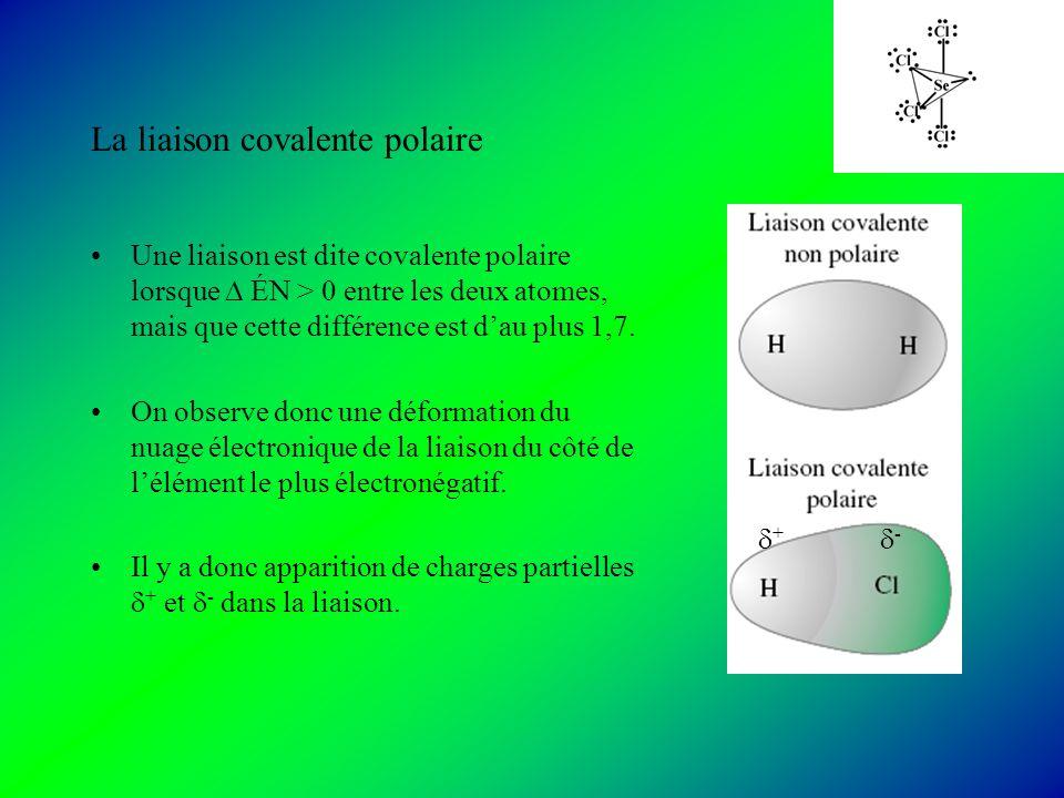 La liaison covalente polaire Une liaison est dite covalente polaire lorsque ÉN > 0 entre les deux atomes, mais que cette différence est dau plus 1,7.