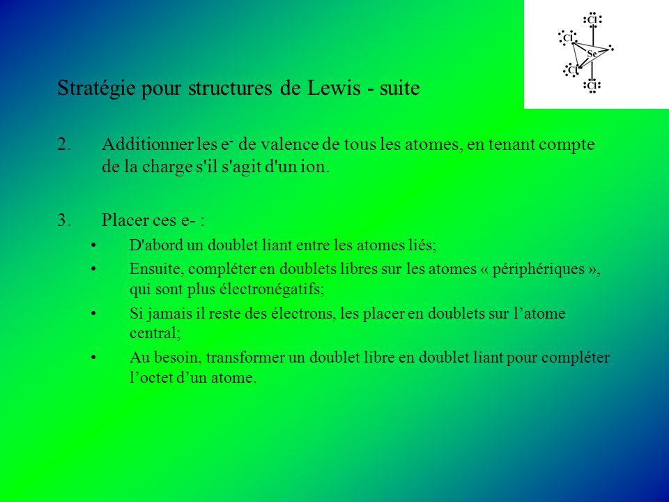 Stratégie pour structures de Lewis - suite 2.Additionner les e - de valence de tous les atomes, en tenant compte de la charge s il s agit d un ion.