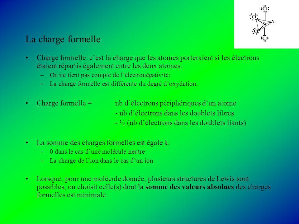 La charge formelle Charge formelle: cest la charge que les atomes porteraient si les électrons étaient répartis également entre les deux atomes.