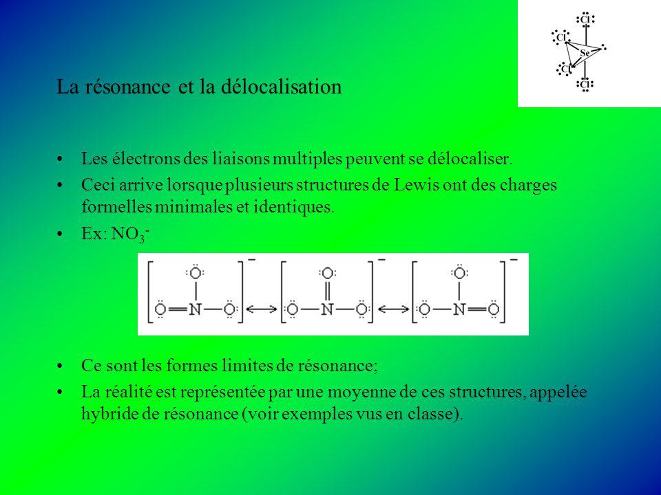 La résonance et la délocalisation Les électrons des liaisons multiples peuvent se délocaliser.