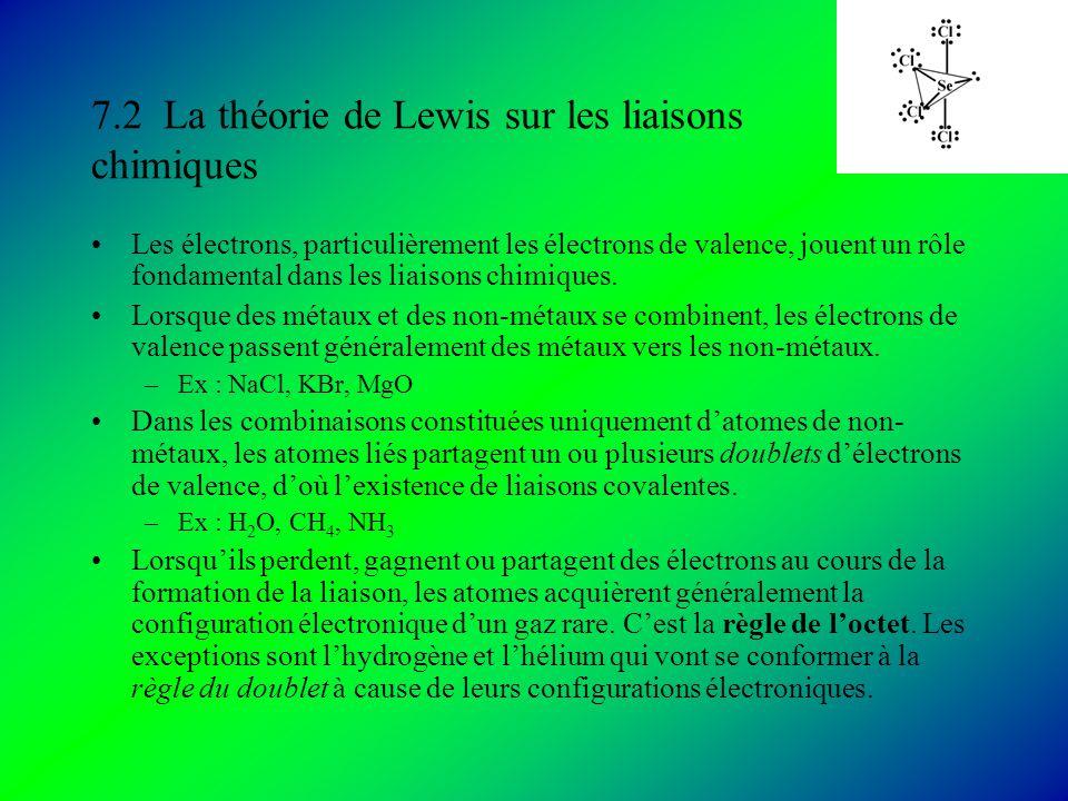 7.2 La théorie de Lewis sur les liaisons chimiques Les électrons, particulièrement les électrons de valence, jouent un rôle fondamental dans les liaisons chimiques.