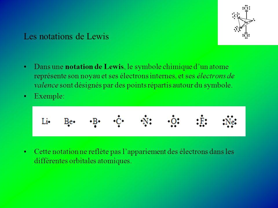 Les notations de Lewis Dans une notation de Lewis, le symbole chimique dun atome représente son noyau et ses électrons internes, et ses électrons de valence sont désignés par des points répartis autour du symbole.